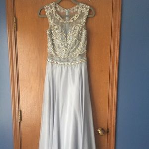 Silver size 2-4 prom dress intricate bedding